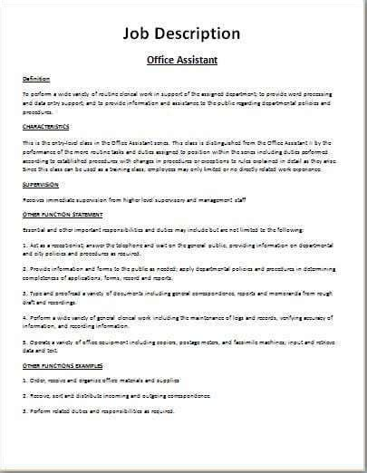 sample job description template 9 free documents download in pdf
