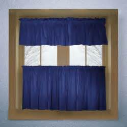 Cafe Style Kitchen Curtains Solid Royal Blue Colored Caf 233 Style Curtain Includes 2 Valances And 2 Kitchen Curtain Panels In