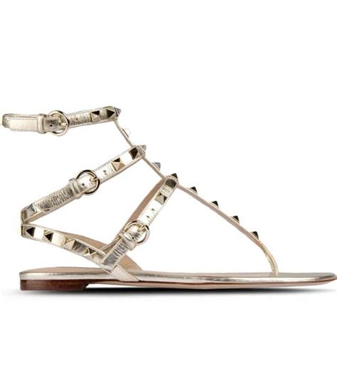 flat shoes valentino sn208 valentino rockstud ankle wrap gold metallic leather flat