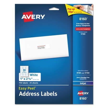 Avery 8160 Easy Peel White Address Labels For Inkjet Printers 1 Quot X 2 5 8 Quot 750 Labels Pack Avery 1 X 2 5 8 Label Template