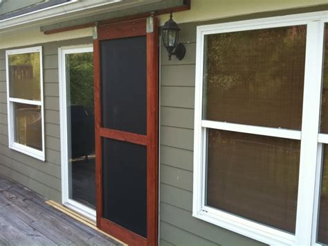sliding screen doors on craftsman porch patio