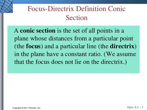 definition of conic section unit 8 5