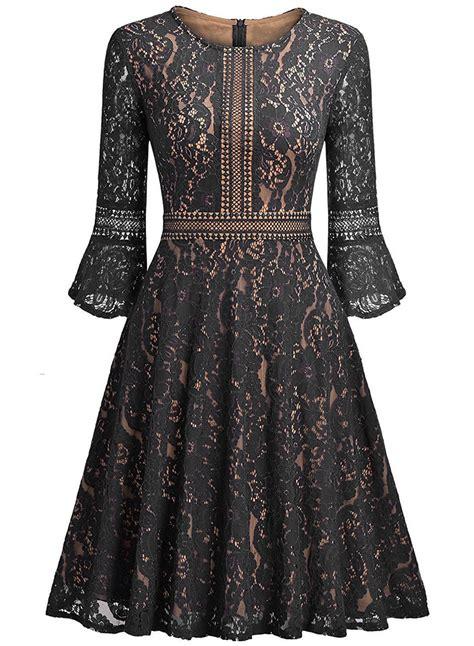 Lace A Line Dress vintage flare sleeve lace a line dress novashe