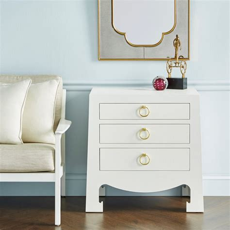 jacqui 3 drawer side table bungalow 5 jacqui 3 drawer side table white grasscloth