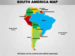 south america editable continent map with countries