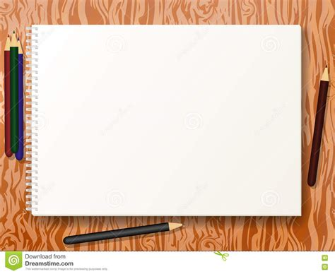 drafting table pad vector illustration sketch pad with pencils stock vector