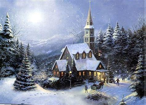 Large Festive Church Winter Christmas Snow Scene Light Up