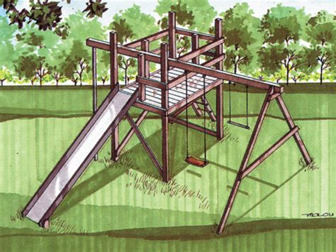 wooden swing set plans jungle gym swing set plan 002d 0011 house plans and more