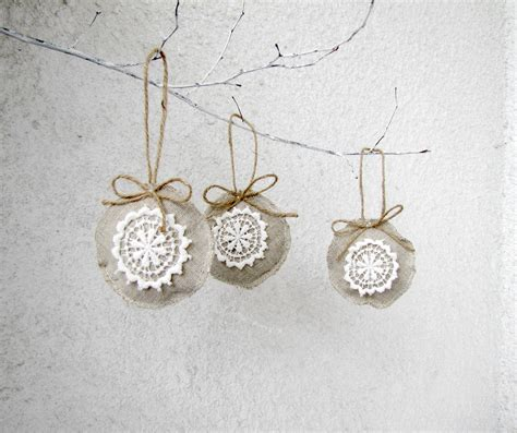 christmas ornaments linen and lace holiday ornaments shabby