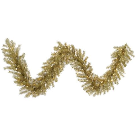 9 foot gold silver tinsel christmas garland all lit