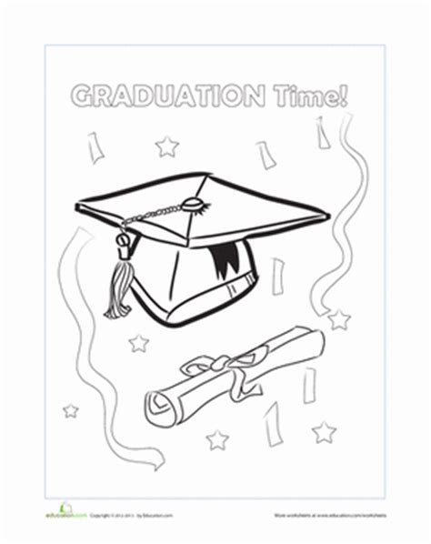 free coloring pages for kindergarten graduation graduation cap worksheet education