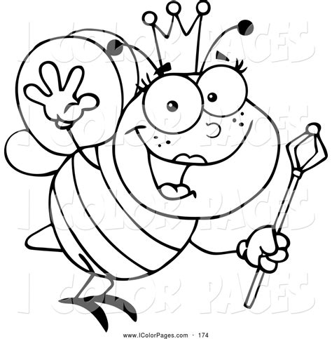 queen bee coloring page vector coloring page of a black and white waving friendly