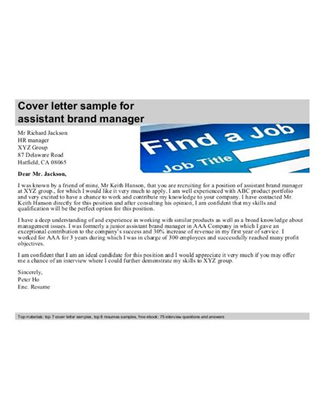 Brand Assistant Cover Letter by Assistant Brand Manager Cover Letter Sles And Templates