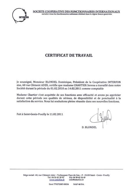 Certificat De Travail Modèle
