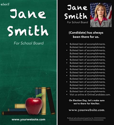 School Board Caign Flyer Template School Board Caign Print Templates Green Chalkboard Theme Online Candidate