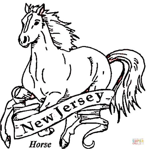 coloring page of new jersey state flower horse of new jersey coloring page free printable