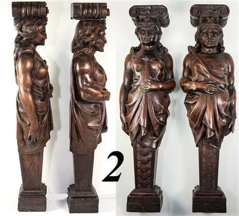 fab antique hand carved wood caryatid figures pair 15 5