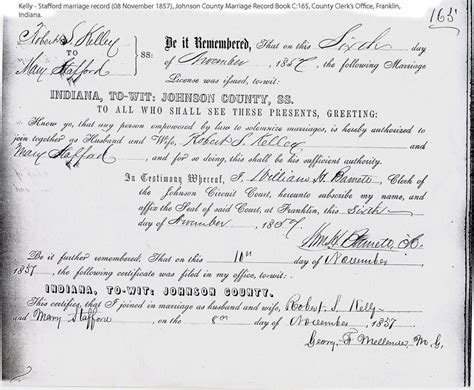 Johnson County Indiana Marriage Records H R Stafford