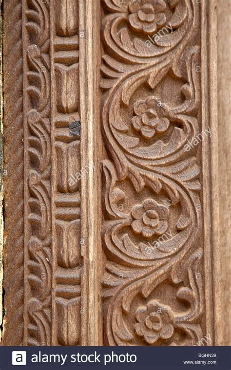 pattern of wood frame carved mbweni zanzibar floral decoration in carved door frame