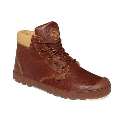 palladium slim baggy leather boots in brown for brown