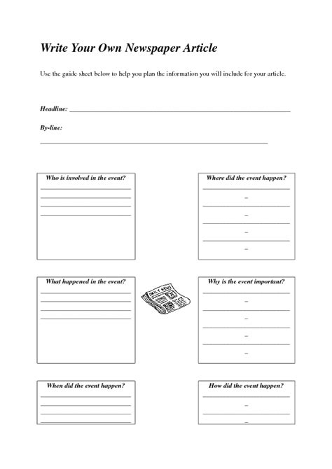 39 Free Newspaper English Worksheets Writing A Newspaper Article Template