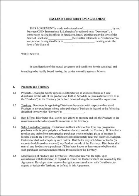 distribution agreement samples templates word