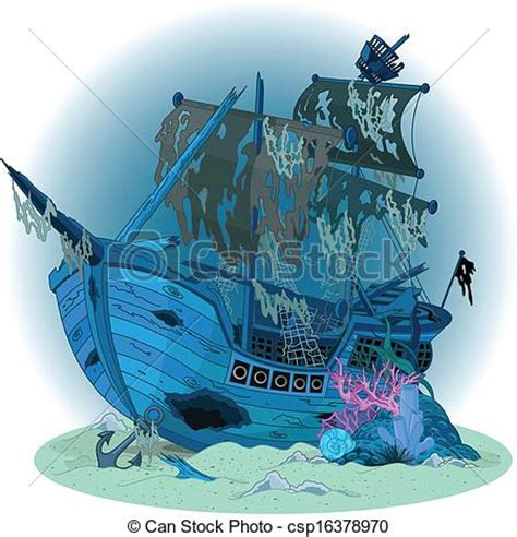 boat underwater drawing vektoren illustration von schiff altes hintergrund