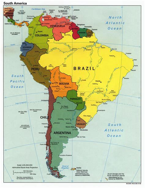 south america physical political map maps of south america and south american countries