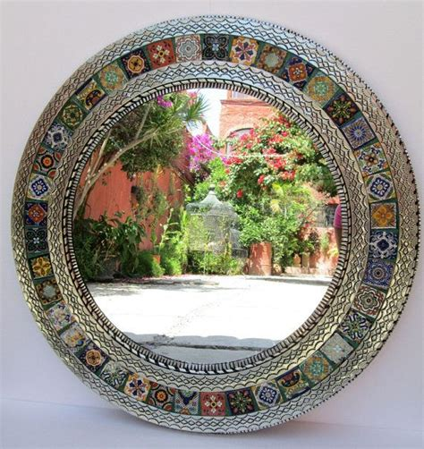 Handmade Mirror - punched tin mirror mixed talavera tile handmade