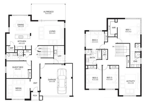 four bedroom double storey house plan 25 best ideas about double storey house plans on pinterest 2 storey house design