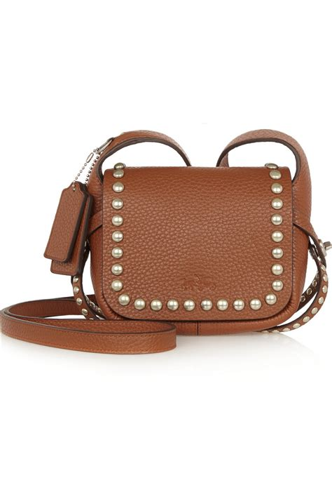 Coach Textured Leather Bag by Lyst Coach Dakotah Studded Textured Leather Shoulder Bag In Brown