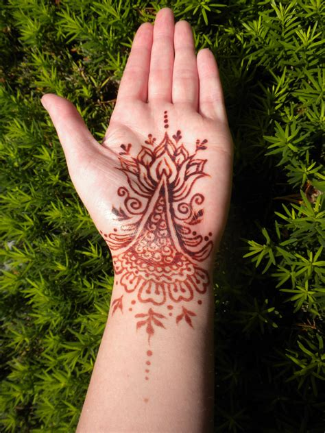 henna tattoo hand palm henna lotus palm and bracelet stain by flowerwills on