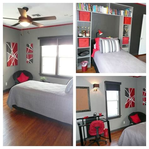red and gray bedroom red black and grey teen bedroom trim and accent wall