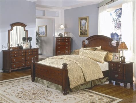 cherry bedroom sets brown cherry finish classic bedroom set w queen size bed