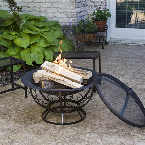 Firepit Base Cobraco Fb8002 Pit With Scroll Base With Screen And Cover Patio Lawn Garden