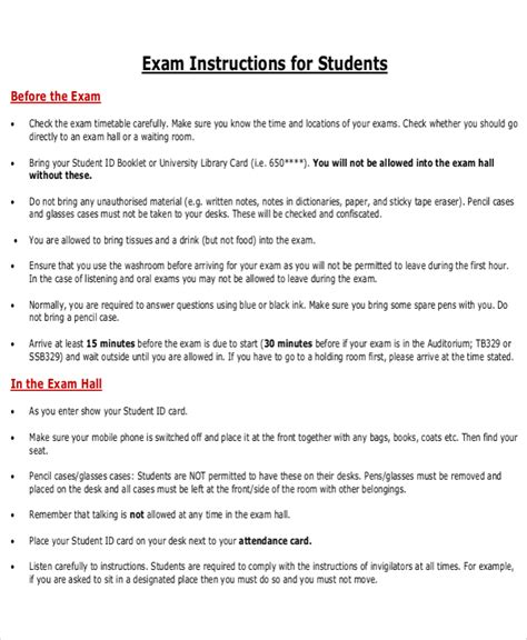 10 instruction templates free sle exle format