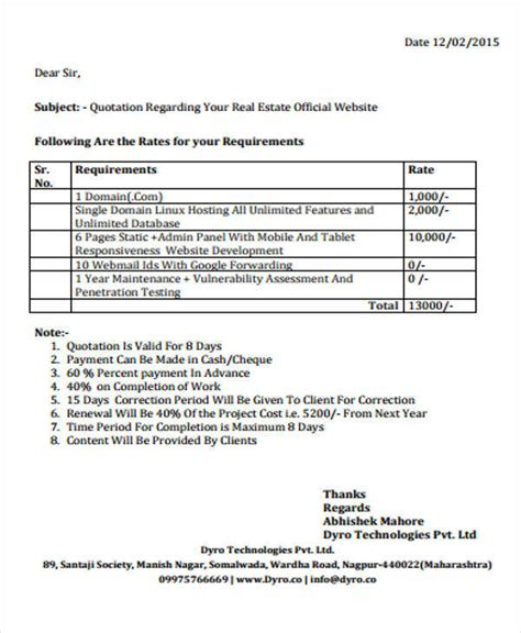 7 Real Estate Quotation Exles In Word Pdf Sle Templates Website Quotation Template Doc