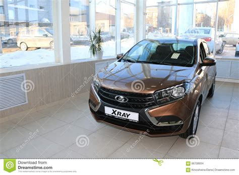Lada Dealer New Russian Car Lada Xray During Presentation 14 February