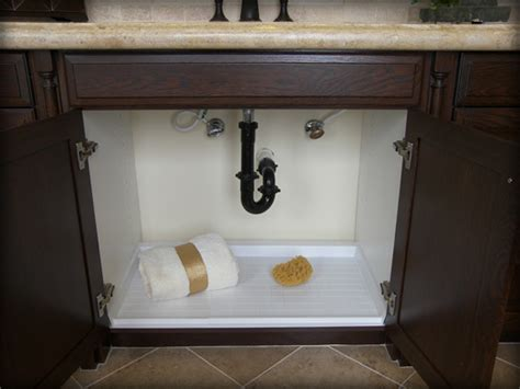 under sink cabinet protector driptite slide n fit under sink pan cabinet base