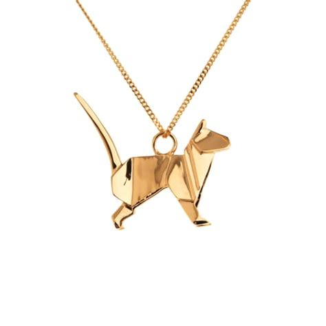 Origami Jewellery Uk - cat necklace gold origami jewellery wolf badger