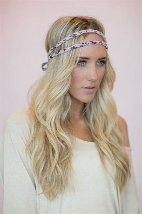double hair strand bohemian headband indie hair bands double strand crown