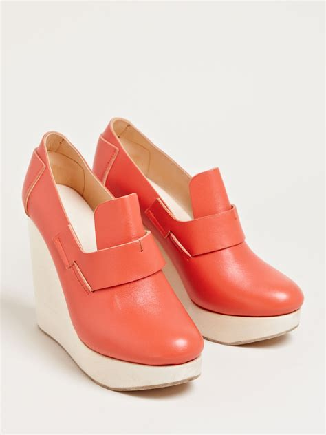loafer platform shoes lyst ets callatay womens loafer platform shoes in orange
