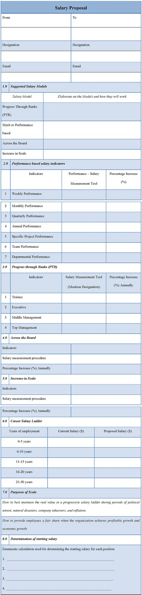 proposal template for salary exle of salary proposal