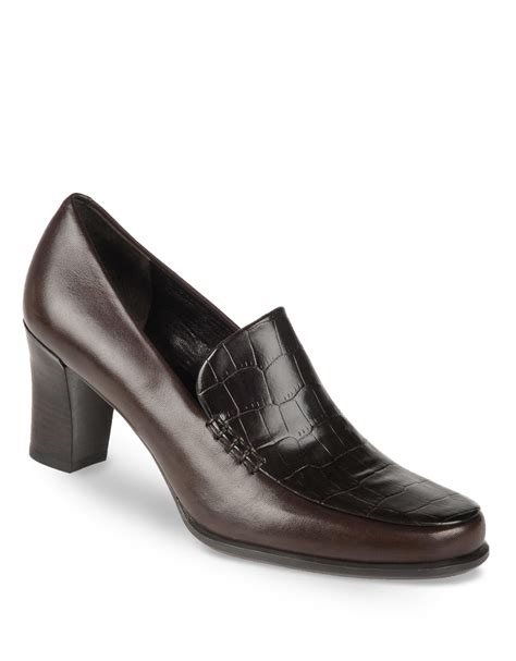 high heel loafers for franco sarto nolan high heel leather loafers in brown