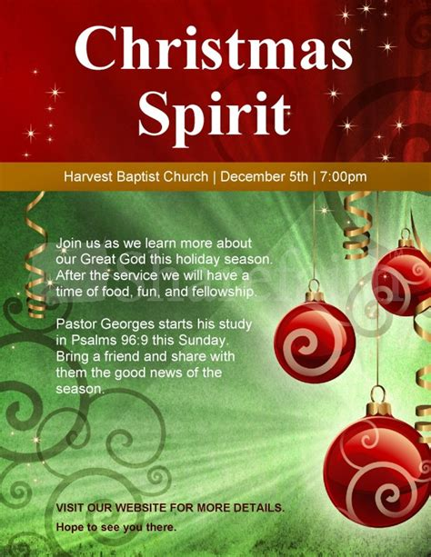 christmas spirit church flyer template flyer templates