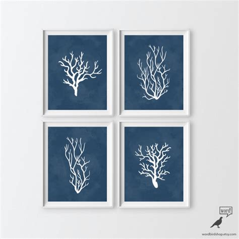 Navy Blue And Coral Bathroom by Items Similar To Navy Blue Bathroom Decor 4 Print Set Indigo Blue Coral Nautical Print Sea