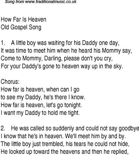 how far is heaven christian gospel song lyrics and chords