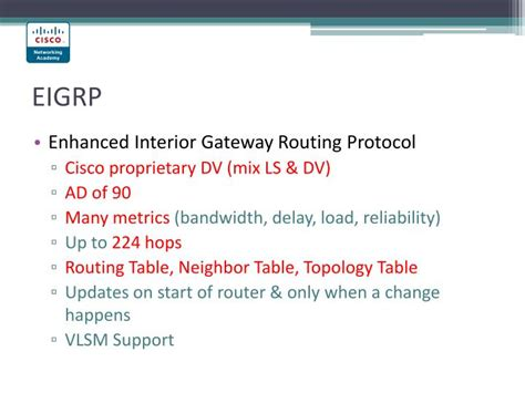 Enhanced Interior Gateway Routing Protocol Eigrp by Ppt Fundamentals Of Networking Powerpoint Presentation