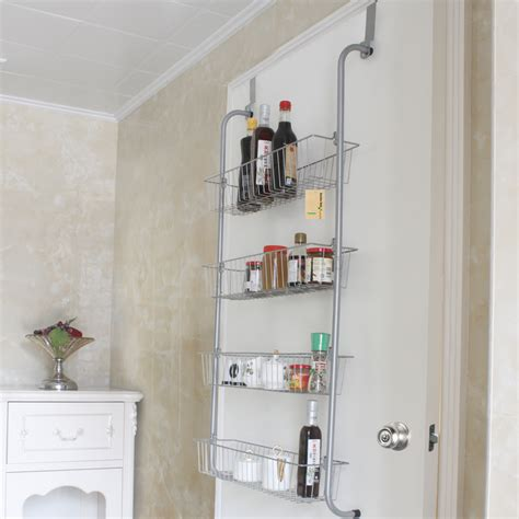 Hanging Pantry Door Organizer by 4 Tier Door Hanging Shelf Basket Rack Pantry