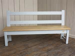 Kitchen Table Benches With Back Waxed Plank Top Kitchen Bench With Back Rest
